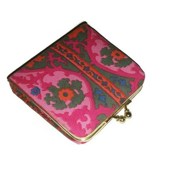 Psychedelic 60s Coin Purse Groovy Vintage Fuschia Pink &