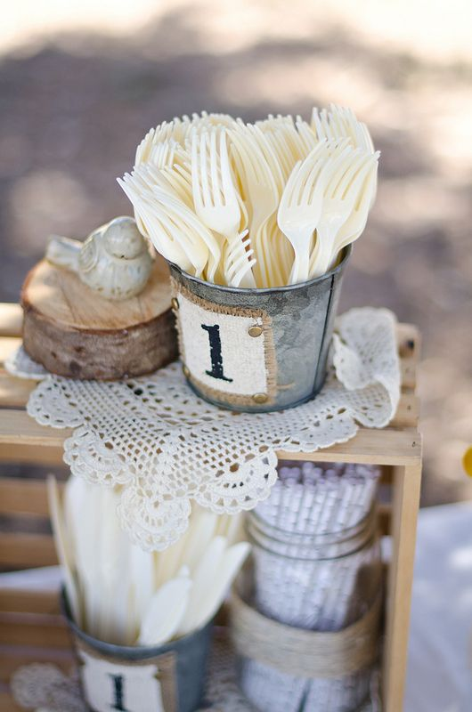 Buffet Ideas.  Pinned by Afloral.com from http://www.alyciamealy.com/2013/05/kylers-woodland-first-birthday-party.html ~Afloral.com has rustic chic containers and decorations for your party decor.