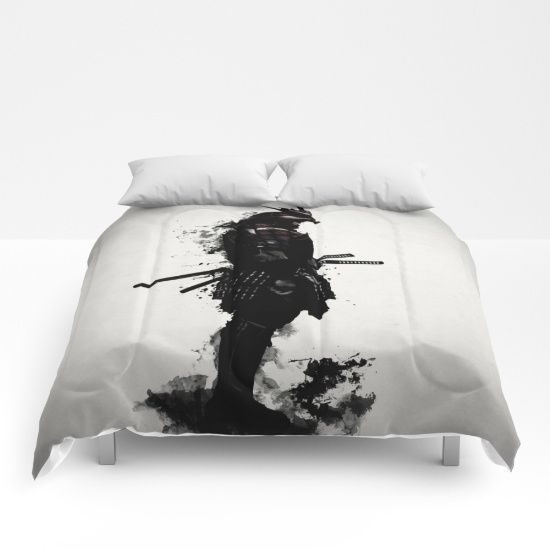 Armored Samurai Comforters #samurai #warrior #sword #katana #japan #japanese #spatter #dark #inkspatter #digital #illustration #comforter #bedroom #homedecor