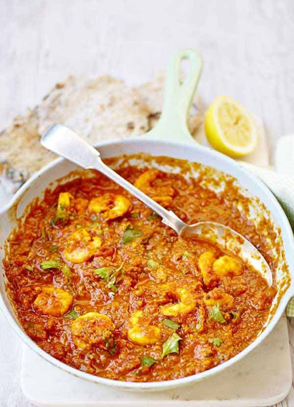 Prawn masala: This simple prawn masala is super-easy to make, ready in under an hour AND comes in at under 500 calories, perfect if you're on the 5:2 diet. It's so delicious you'll forget you're being virtuous.