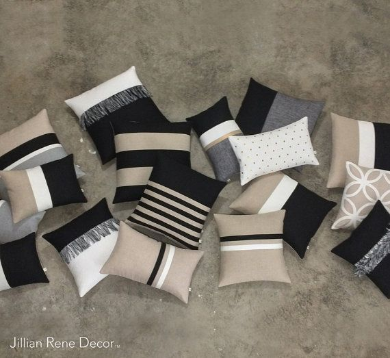 Luxury Pillow Cover Set Elegant Neutrals by JillianReneDecor