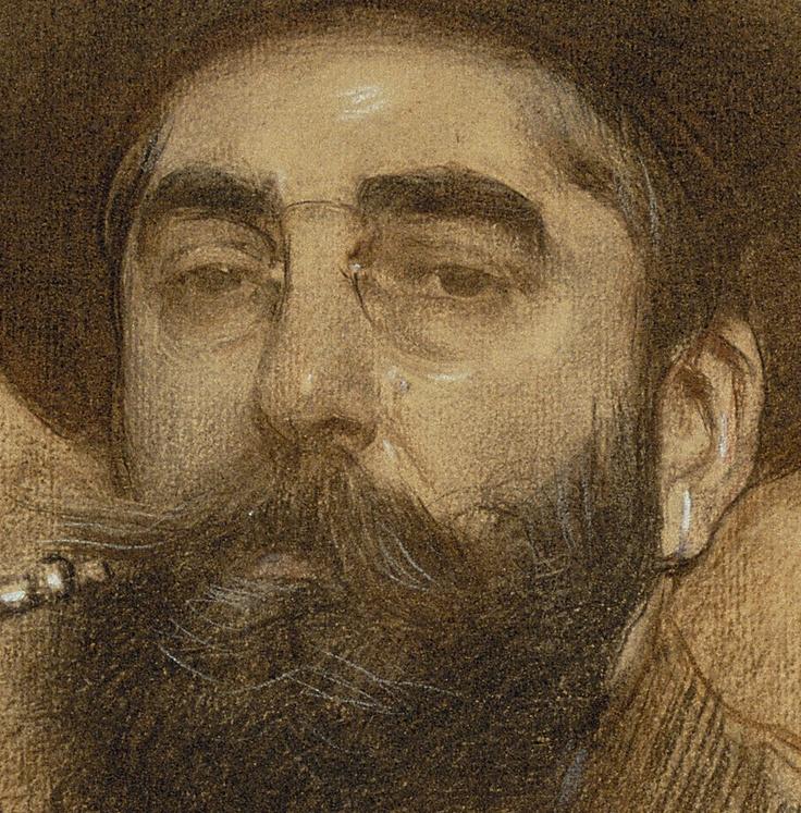 "detail from ""Self-portrait"" (1908) by Ramón Casas i Carbó @ Museu Nacional d'Art de Catalunya - MNAC, Barcelona"
