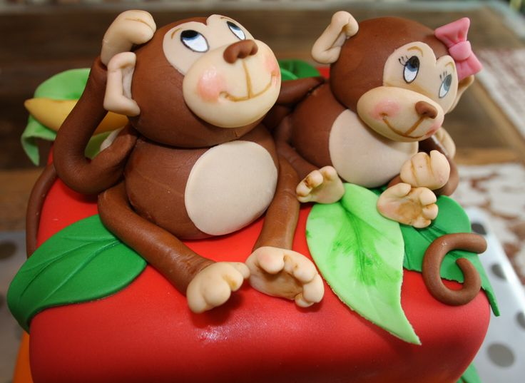 Monkey fondant cake, kids twins birthday cake
