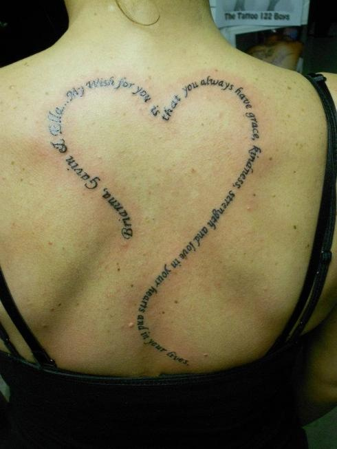 """I want a quote from the book """"Love You Forever"""" with my babies names in red. <3"""