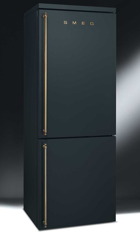 matte black smeg with brass hardware.