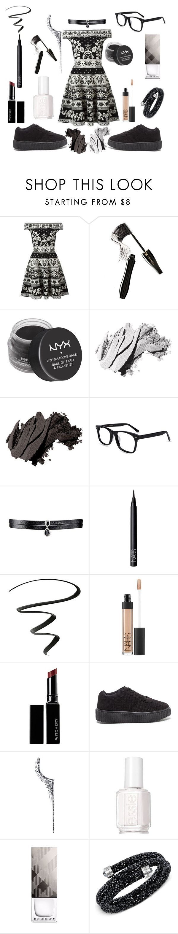 """""""Black and white. K."""" by lasagneislife ❤ liked on Polyvore featuring Alexander McQueen, Lancôme, Forever 21, Bobbi Brown Cosmetics, Fallon, NARS Cosmetics, NYX, Witchery, Cristina Ortiz and Essie"""