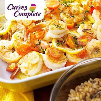 Trying to think of something for dinner? These Prawns with Roasted Lemon and Garlic are a Curves Complete option. If you want to learn more  about Curves Complete, ask your circuit coach or call 543-9735!