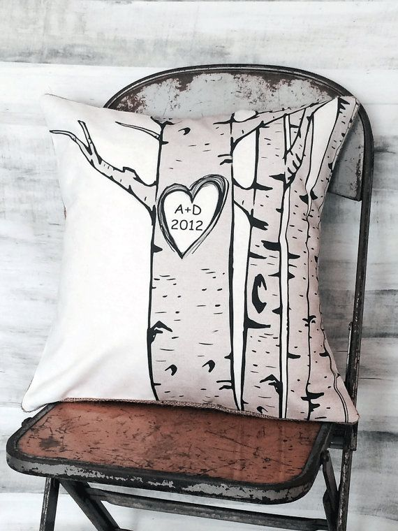 Awesome birch trees with carved heart....choose your initials and date!    Just leave personalization information in the notes to seller section at