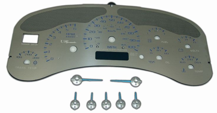 Gmc Yukon 1999-2002  100 Mph Trans Temp Stainless Steel Gauge Face With Blue Numbers