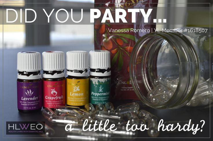 UH OH...did you party a little too hardy last night? Give this oily hangover remedy a try. To a capsule, add 4 drops each, lemon, grapefruit, lavender and peppermint. Wash it down with 2 oz. NingXia Red. Happy Healthy New Year!