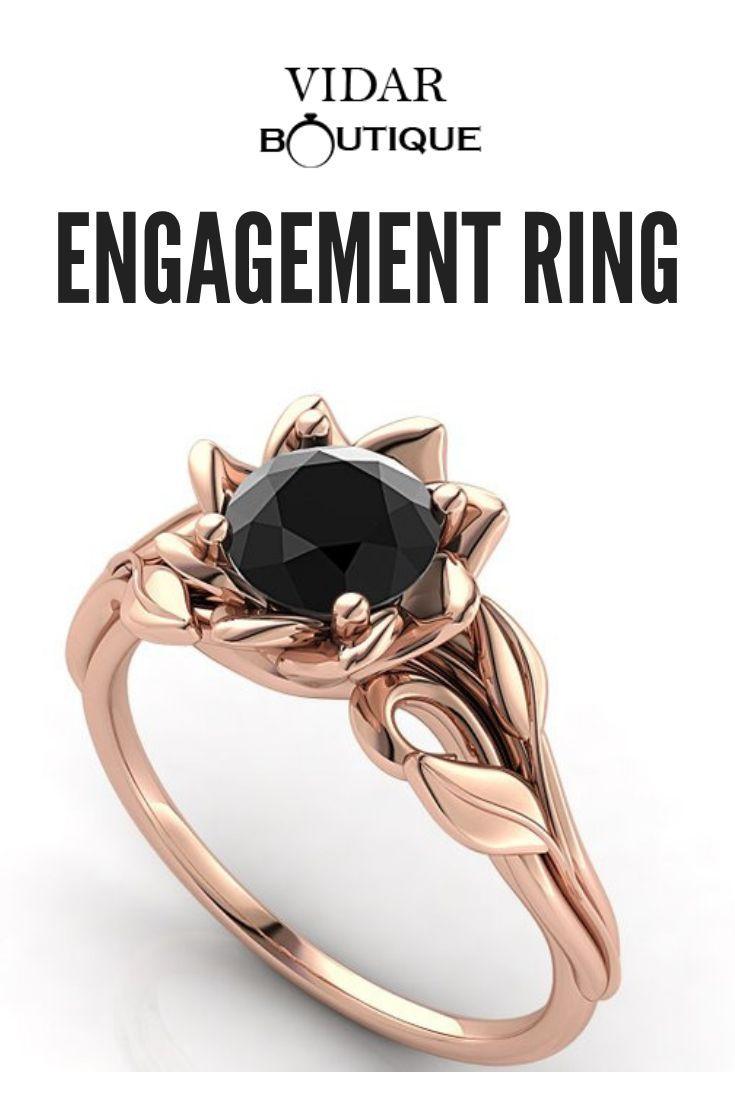 Rose Gold Engagement Ring Black Diamond Ring Leaves Ring Rose Gold