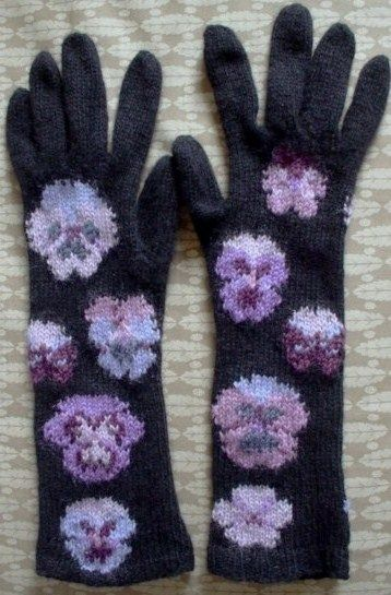 Long hand knitted gloves with pansy pattern