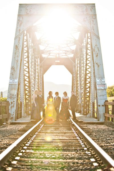 love this prom photo. taking photos on a bridge is such a good idea!