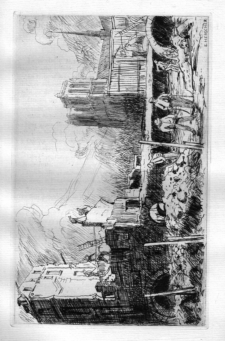 Démolition de l'Annexe de l'Ancien Hôtel-Dieu - Paris - De la rue de la Bûcherie, angle de la rue Lagrange (1909)