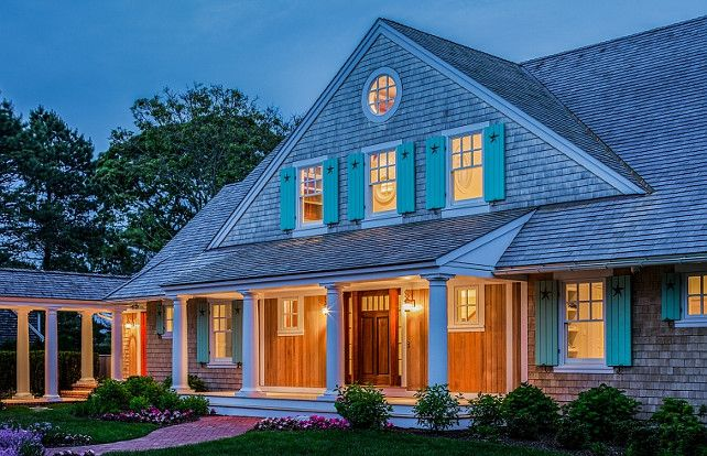 Cottage. Shingle cottage with shutters. Shingle beach cottage shutters. Shutter paint color is Benjamin Moore OC-48 Hazy Blue. #cottage #Shinglecottage #CottageShutter Polhemus Savery DaSilva Architects Builders.
