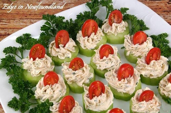 Edye in Newfoundland: Cucumber Tomato Bites with Creamy Parmesan Herb Sp...