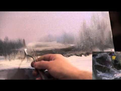 ПОЛНЫЙ видеоурок И.Сахарова ЗИМНИЙ ПЕЙЗАЖ Научиться рисовать воду, снег - YouTube