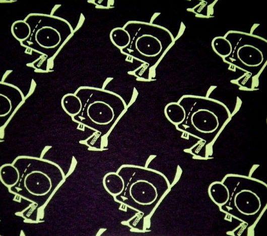 Rare HTF Gir Invader Zim Gir Black Fabric Diy by fabricjunkeez