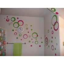 Hot Pink & Lime Green Wall Circle Bubble Stickers Rings & Dots Decals 50+pc