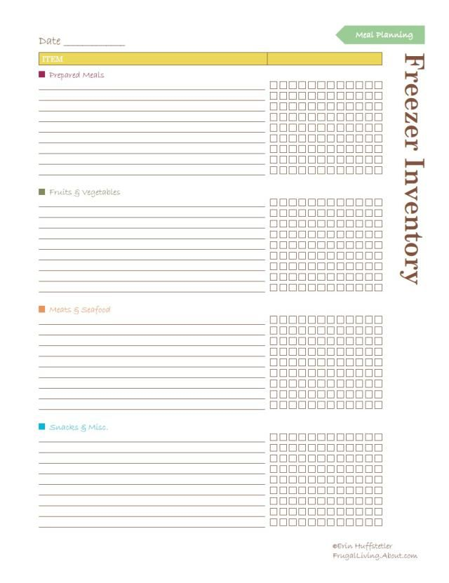 Free Household Notebook. Includes 36 Printables: Freezer Inventory List