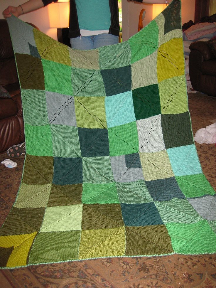 Ravelry: Diagonal Rib Mitered Square Blanket pattern by Joan Marie
