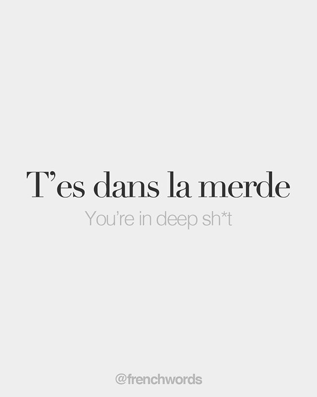T'es dans la merde (vulgar) You're in deep sht /te dɑ la mɛʁd/ Je sui…