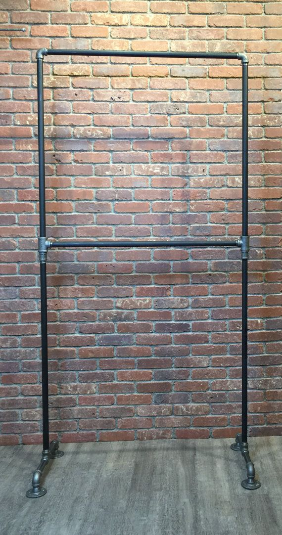 Industrial Style Clothing Rack Double Row by WilliamRobertVintage