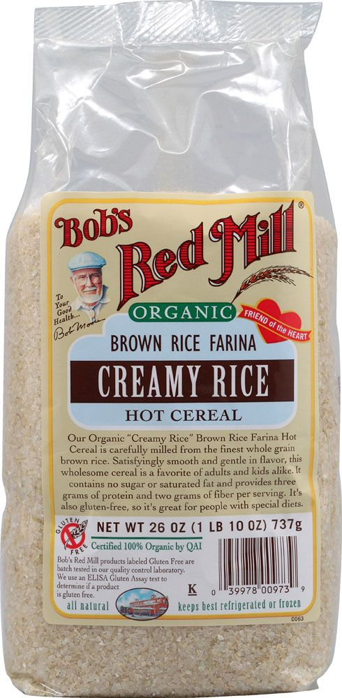 My chilly day staple for breakfast! Kosher, gluten-free, all natural, heart healthy. Organic Creamy Rice Brown Rice Farina Hot Cereal is carefully milled from the finest whole grain brown rice. Satisfyingly smooth and gentle in flavor. It contains no sugar or saturated fat and provides 3 grams of protein and 2 grams of fiber per serving.