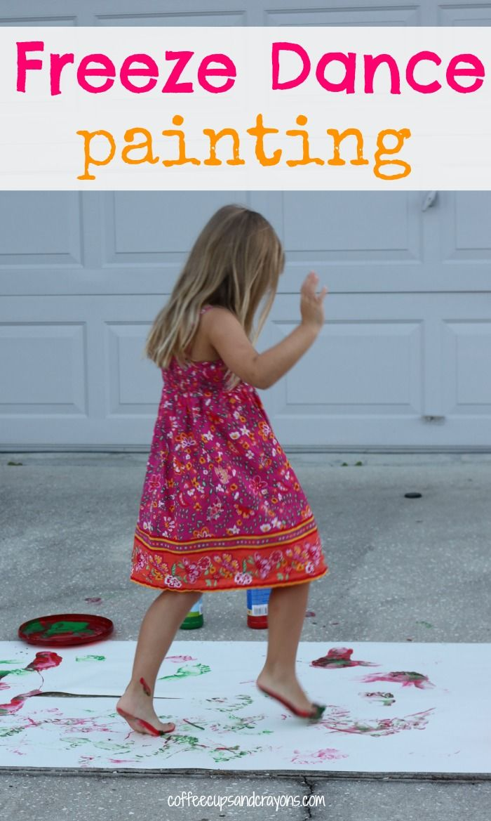 Kids Art Activity: Freeze Dance Painting  Provides Auditory, Vestibular, Proprioception, and Tactile stimulation