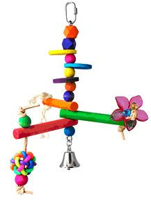 """Hanging Bird Gym - Small 11"""" x 9"""" Parakeets to Conures Hanging Bird Gym - Medium 13.5"""" x 8"""" - 3/4"""" Perch Diameter Conures to small Cockatoos This is sure to delight your feathered baby!"""