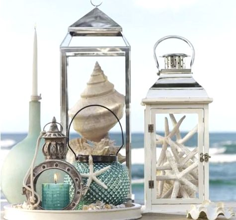 Lanterns can be used to display sea treasures, as seen at Pottery Barn: http://www.completely-coastal.com/2014/03/beach-lanterns.html