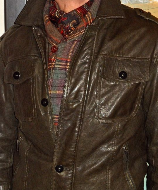 Blink dark olive leather jacket, Polo Ralph Lauren pullover, Italian silk scarf… #Blink #PoloRalph #mensfashion #fashion #sartorial #sprezzatura #dapper #dapperstyle #dandy #dandystyle #menshoes