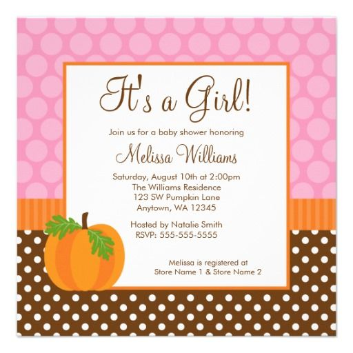 fall baby shower invitation pumpkin polka dot fall girl baby shower