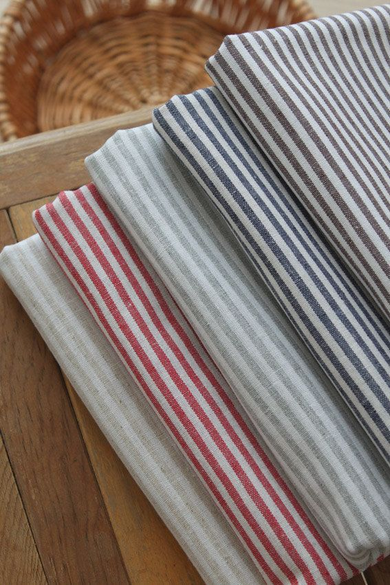 "Cotton Linen/ Stripe Fabric/ Linen/ Linen Cotton/ Linen Fabric- 1/2 yrd 5 Colors available 18'X55"". $6.80, via Etsy."
