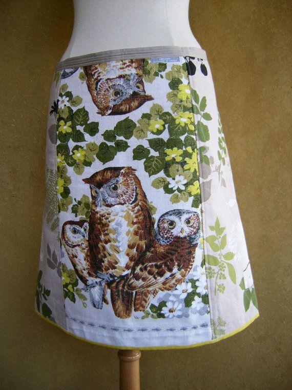 A-lijn rok, vintage linnen theedoek, uilen, upcycle gordijnstof, planten, borduurwerk spitsmuis, wit grijs groen bruin, size Medium