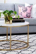 Ellos Home Sofabord Accent diameter 85 cm Grå/messing, Grå/Svart - Sofabord | Ellos Mobile
