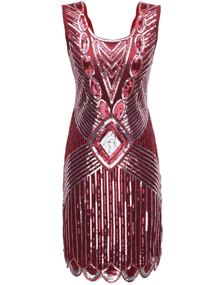 SERINA Sequin 20's Inspired Dress -  Red Silver