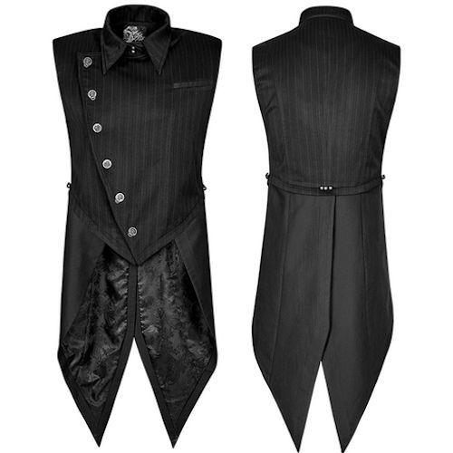 Black Stripe Gothic Vampire Dress Vest Waistcoat Clothing for Men SKU-11401107