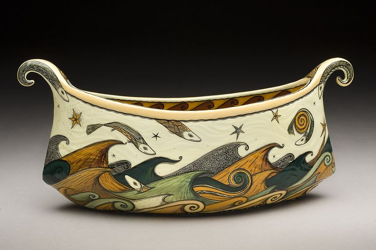 Fish and Waves Vessel by Terri Kern