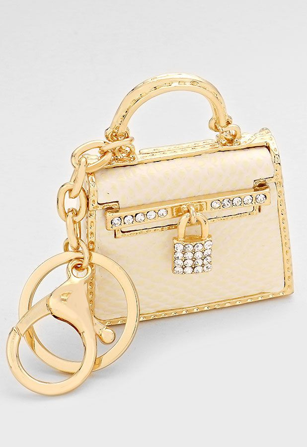 Gold & White Tote Bag Purse Lock Charm Keychain 99937 #GingasGalleria