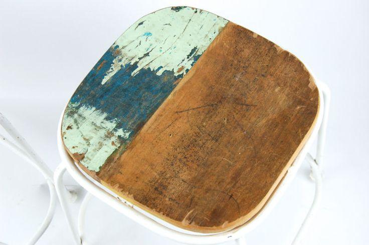 Design Hocker Sitzhocker LOFT Industrie Vintage Shabby Landhaus Holz Metall