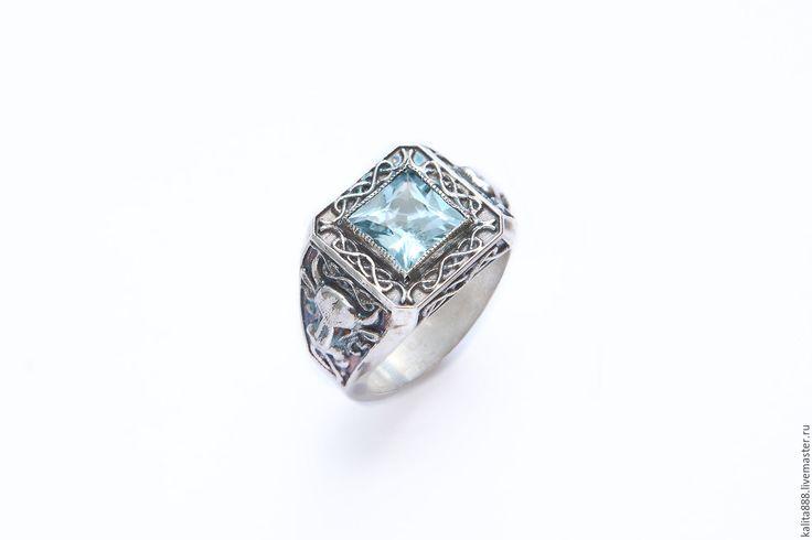 Купить Серебряное мужское кольцо с аквамарином - серебряный, серебро925, серебряное кольцо, серебряные украшения