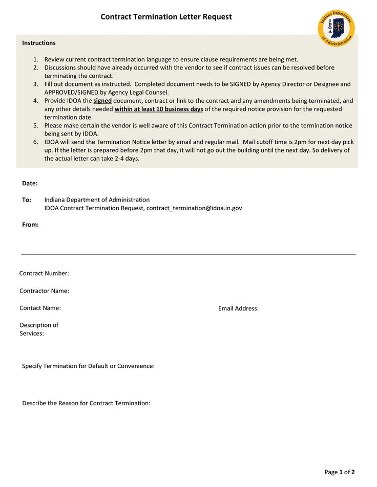 Contract Termination Request - How to draft a Contract Termination