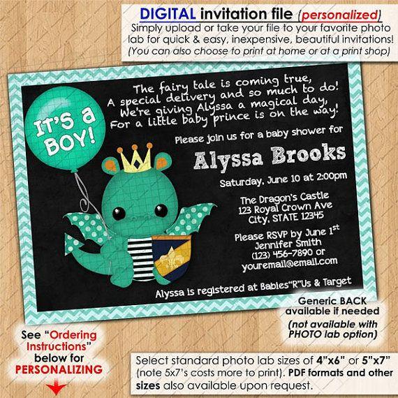 Dragon Baby Shower Invitations Chalkboard Sparky Boys boy party dragons chalk board Custom Personalized DIGITAL INVITATION Design #197