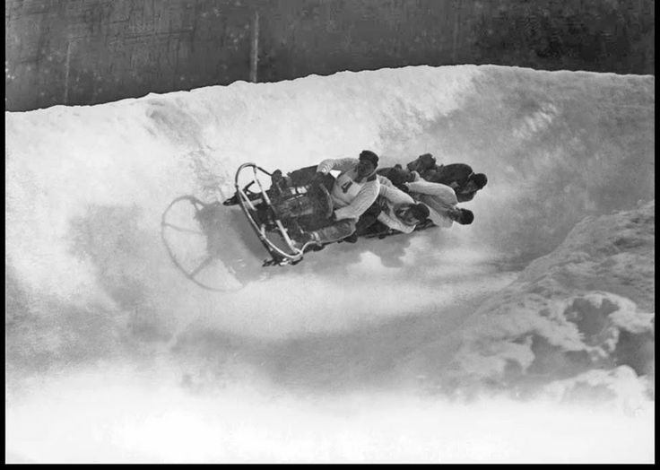 The Athletes of the First Winter Olympics held in Chamonix, France in 1924. The silver-medal-winning British bobsled team.