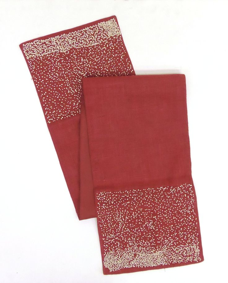 Amazon.com   Cotton Craft   Spray Beaded Border Jute Table Runner   Red