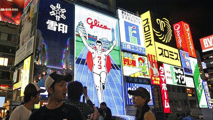 Utazás, nyaralás, Oszaka, Kóbe, Kiotó, Japán, szigetek, város, urbanizáció, népesség, neon, reklám