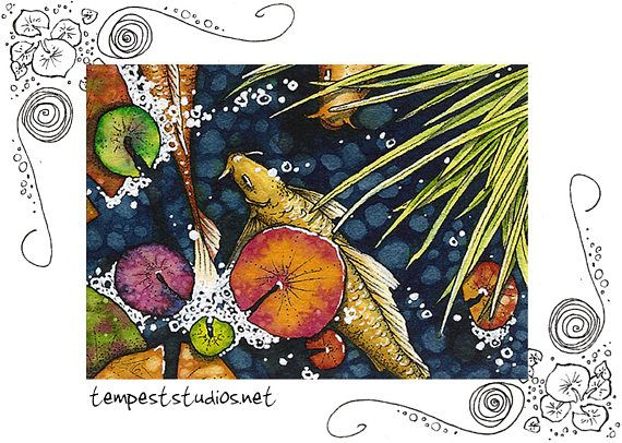 Colorful Koi Pond Original ACEO 2.5 x 3.5 Watercolor Painting Trading Card Art