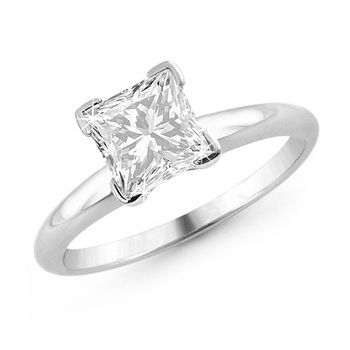 1/2 Carat Certified F-G SI2 Princess Cut Diamond Solitaire Engagement Ring in 14K White Gold