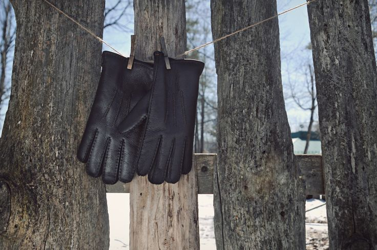 Warm Men's Sheepskin Gloves With Leather Finish